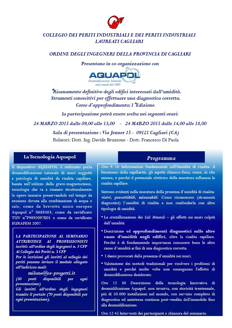 seminario umidità di risalita Cagliari 24 marzo 2015