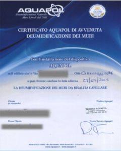certificato Aquapol - umidità di risalita eliminata