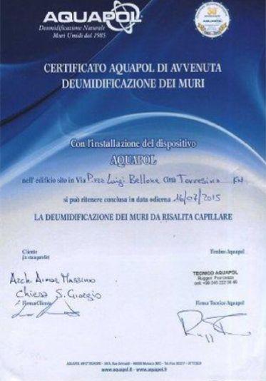 certificato - umidità di risalita eliminata