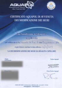umidità di risalita - certificato