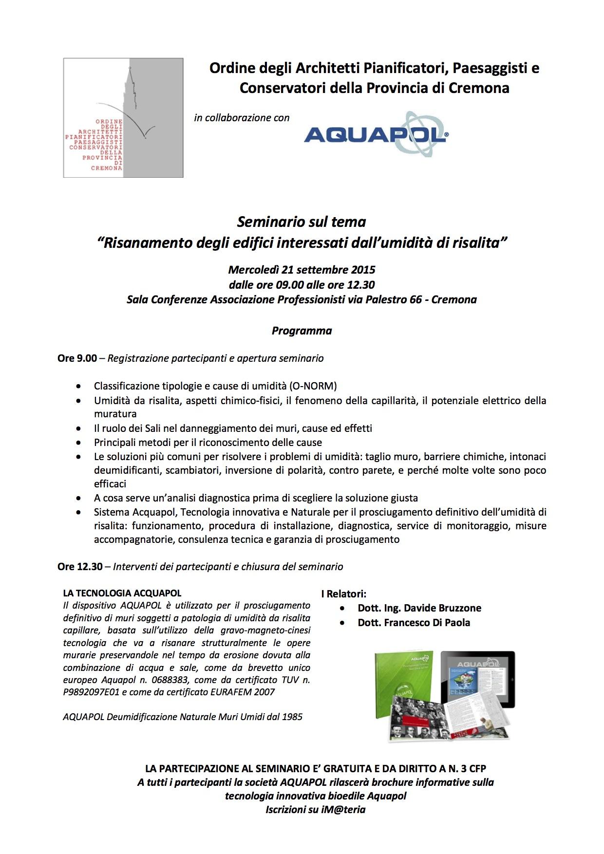 seminario umidità di risalita a Cremona 2016