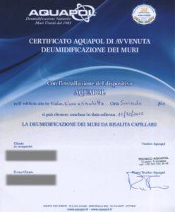 certificato Aquapol - Siniscola - umidità di risalita