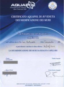 certificato di umidità di risalita eliminata
