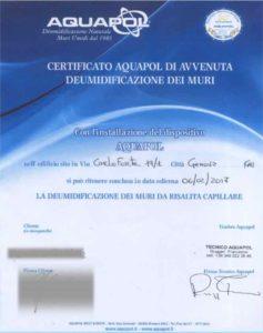 certificato eliminazione umidità di risalita