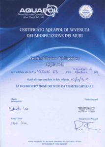 certificato di eliminazione umidità di risalita