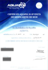certificato di deumidificazione Aquapol