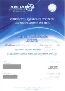 certificazione Aquapol di eliminazione umidità di risalita